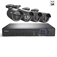 ANNKE 8CH AHD 720P DVR/HVR/NVR+4 720P 1.0MP AHD IP Camera 100ft Night Vision Weatherproof Security System