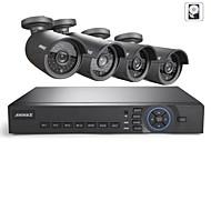 annke 8ch ahd 720p DVR / HVR / NVR + 4 720p IP-Kamera 1.0MP ahd 100ft Nachtsicht wetterfeste Sicherheitssystem