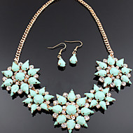 Fashion Alloy Waterdrop Resin Stone Flower Cluster Jewelry Set