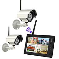 """새로운 무선 4 채널 쿼드 DVR 7 """"TFT-LCD 모니터 홈 보안 시스템 2 카메라"""