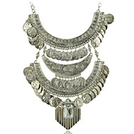 Gypsy Statement Necklace -Ethnic Jewelry Boho Coin Necklace Tribal Collar N1799
