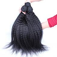 3stk / lot 10 '' - 26''malaysian jomfru hår naturlige sorte kinky lige uforarbejdede menneskehår vævning