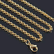"3MM*18""/20""/22""/24""/26""/28"" Women Men Classical Small 18K Gold Plated Stainless Steel Chain Necklaces Pendant Chains"