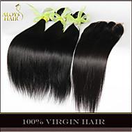 Pelo virginal 3 paquetes recta brasileña con cierre de cordón del pelo humano sin procesar teje y cierres libre medio / 3 parte /