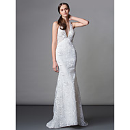 Formal Evening Dress Trumpet / Mermaid Halter Sweep / Brush Train Lace with