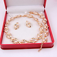 Fashion Tree Moon Style Women Costume Party Gold Plated Imitation Pearl Jewelry Sets