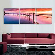e-home® strukket lerret kunst kysten dekormaling sett med 3