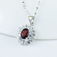 Women's Sterling Silver Necklace With Garnet SG0003P