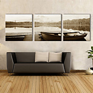 e-Home® opgespannen doek kunst meerboot decoratief schilderen set van 3