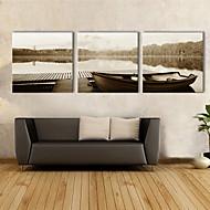 E-Home® Leinwand Kunst See Boot dekorative Malerei Set von 3