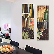 E-HOME® Stretched Canvas Art Grape Wine Decorative Painting  Set of 2