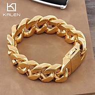 Pánské Dámské Pro páry Řetězové & Ploché Náramky Zlaté Pozlacené Módní Šperky Zlatá Barva obrazovky Šperky 1ks