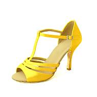 Na zakázku - Dámské - Taneční boty - Latina / Salsa - Satén - Podpatek na míru -Černá / Modrá / Žlutá / Růžová / Fialová / Červená / Bílá