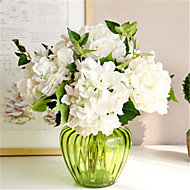 Six White Hygrangeas Artifical Flowers With Vase