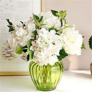 Six White Hygrangeas Artifical Flowers With Vase