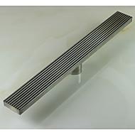 Linear Floor Shower Drain Stainless Steel Adjustable Exit Plain Model