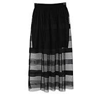 Women's Casual/Work/Maxi Micro-elastic Medium Maxi Skirts (Mesh)