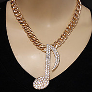 Fashion Rhinestone Music Tune Necklace With Chunky Metal Chain