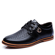 Men's Spring Summer Fall Winter Leather Office & Career Casual Party & Evening Low Heel Lace-up Black Brown