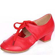 Women's Dance Shoes Sneakers Leather Low Heel Red/Fuchsia/Black/Beige