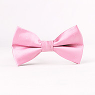 Pink Light Silver Thread Men Bow Ties