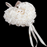 Hanging Rose Flower with Rhinestone Ring Pillow