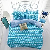 mingjie® bleu reine de baleine de bande dessinée et de taille de jumeaux ponçage ensembles de literie 4pcs pour les garçons et les filles