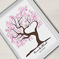 e-home® personlig fingeravtrykk maleri lerret utskrifter - rosa treet (inkluderer 12 blekkfarger) ingen ramme korall bryllup