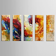pittura a olio astratta tela dipinta a mano con cornice allungato - set di 5