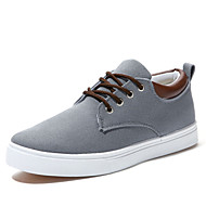 Heren Comfortabel Vulcanized Shoes Canvas Lente Zomer Herfst Winter Causaal Veters Platte hak Beige Grijs Blauw