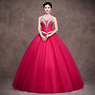 Formal Evening Dress - Fuchsia Petite Ball Gown Strapless Floor-length Satin / Tulle / Stretch Satin