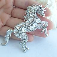 ženy příslušenství silver-tone jasné drahokamu křišťálově jednorožec kůň brož art deco crystal brož šátek ženy šperky