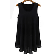Women's Sexy Casual Cute Plus Sizes Inelastic Sleeveless Long Blouse (Chiffon)