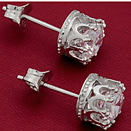 Women's Crown Silver Stud Earrings With Rhinestone/Cubic Zirconia