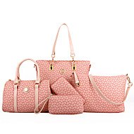 Women PU Barrel Shoulder Bag / Tote - White / Pink / Blue / Brown