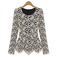 Women's Round Neck Lace/Ruffle Shirt , Lace/Polyester Long Sleeve