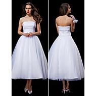 Ball Gown Wedding Dress - White Tea-length Strapless Tulle