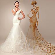 웨딩 드레스 - 아이보리(색상은 모니터에 따라 다를 수 있음) 트럼펫/멀메이드 쿼트 트레인 V 넥 튤