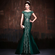Formal Evening Dress - Dark Green Petite Trumpet/Mermaid Off-the-shoulder Sweep/Brush Train Lace / Satin / Polyester
