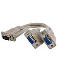 vga SVGA 15 broches mâle à double moniteur 2 femelle adaptateur Splitter Cable cordon