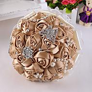 """Bouquets de Noiva Redondo Rosas Buquês Casamento Festa / noite Cetim Espuma Strass Crostal 9.84""""(Aprox.25cm)"""