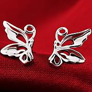 Women's Silver Butterfly Stud Earrings
