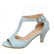 Elől kivágott Lábujj - Alacsony - Női cipő - Szandál - Ruha - Bőrutánzat - Fekete / Kék / Rózsaszín / Bézs