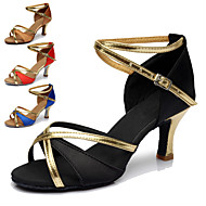 Customizable Women's Dance Shoes Latin/Dance Sneakers Leatherette Customized Heel Black/Blue/Brown/Red