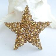 Women Accessories Art Deco Gold-tone Topaz Rhinestone Crystal Star Brooch Crystal Sash Brooch Women Jewelry