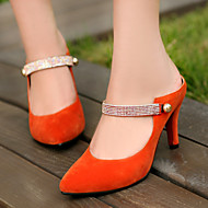 女性-ドレスシューズ-レザーレット-スティレットヒール-ポインテッドトゥブラック / ブルー / オレンジ