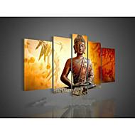 handgeschilderde kunst aan de muur religie boeddha olieverf op doek groene 5pcs / set zonder frame