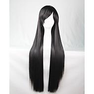 cos anime lyse fargede parykker lang svart rett hår parykk 80 cm