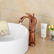 Contemporary Rose Gold Swan Shape Bathroom Basin Faucet (Tall)