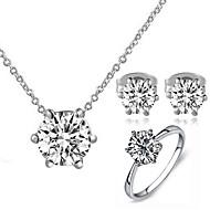 Schmuckset Kristall Klassisch Krystall Kubikzirkonia Imitation Diamant Aleación sechs Prongs Halsketten Ohrringe FürHochzeit Party Alltag